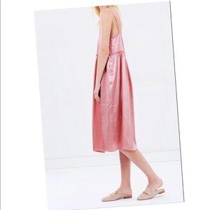 Anthropologie Steele Pink Satin Dress